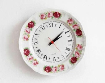 Vintage Flowered Porcelain Plate Wall Clock