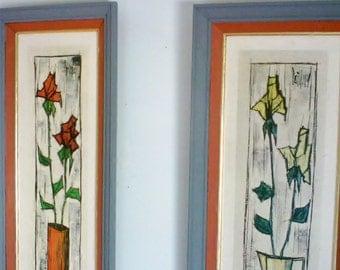 Vintage Modern Art Floral Panels / Donald Art Floral Lithographs / Paillava
