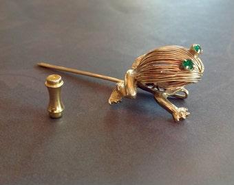 Wired Frog Stick Pin Green Rhinestone Eyes Lapel Pin Hat Pin
