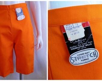 Vintage Capri Pants 1960s Orange Pedal Pushers Deadstock 26 Waist