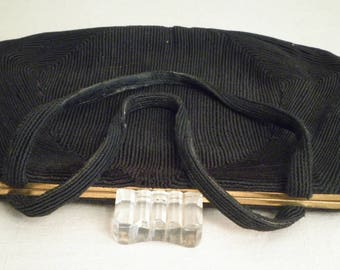 1940's Vintage Corde Purse Handbag Big Lucite Clasp WWII Swing Era