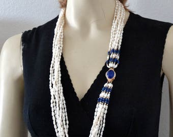 "Vintage European 14K Gold 8 Strand Freshwater Pearl, Diamonds, & Lapis Lazuli Necklace 32"" long"