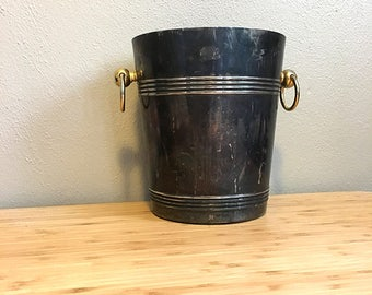 Silver Plated Ice Bucket / Gold Handled Silver Champagne Bucket / Mid Century Barware / Bar Cart Accessory / Vintage Wine Chiller