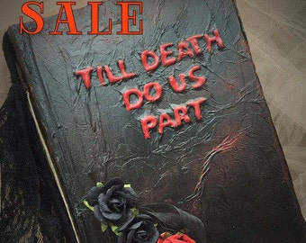 SALE....Was 159.00 Now 99.00 Gothic Till death do us part wedding sign in guest book