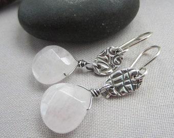 Silver Earrings/ Fine Silver Earrings with quartz/ White gemstone Earrings/ Artisan Earrings/ Quartz/ Summer Earrings