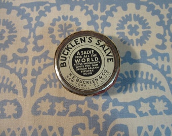 Authenic 1940's Vintage Bucklen's Salve Tin and Rosin Cake H.E. Bucklen & Co
