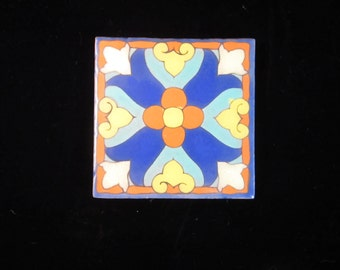 """VTG 1930 Style Terra-Cotta Handpainted and Glazed 6"""" X 6"""" Tiles from Country Floors LA"""