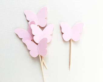 24 Light Pink Butterfly Cupcake Toppers, Party Decor, Spring, Summer, Weddings, Showers, Birthdays