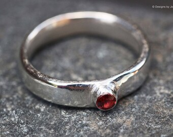 Fine Silver Rhodolite Garnet Stacking Ring