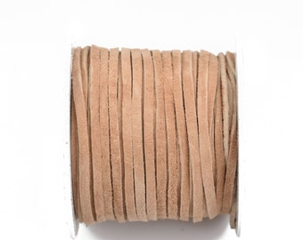 """1/8"""" Suede Leather Lace, BEIGE, real leather by the yard, Realeather made in USA, 3mm wide, 25 yards, Lth0033"""