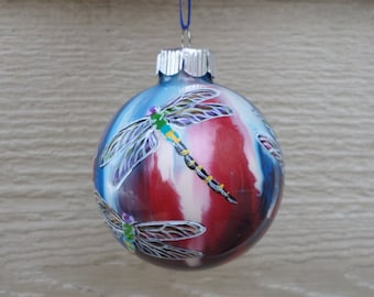 Hand painted ornament, Dragonfly Ornament, red white and blue no333