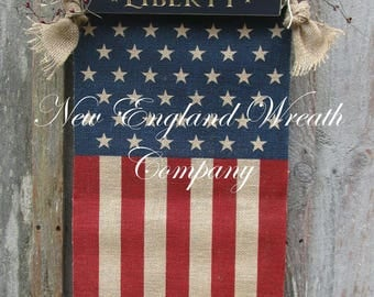 Patriotic Wreath, Americana Wreath, Primitive Flag Banner, Fourth of July Wreath, Memorial Day Swag, Military Wreath, Rustic Flag Banner