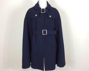 Retro Belted Navy Wool 70s Cape - Size Medium