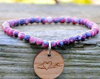 Pink/Purple Splash Beaded Long Island Love Bracelet
