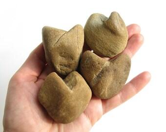 4 Heart Shaped Natural River Rocks