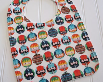 Toddler Bib/12-24 mo./Nutcracker Dots in White/Organic Fleece Back