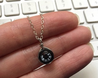 Geek Girl Small Compass Necklace with Sterling Silver Chain