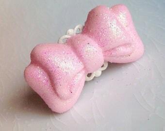 Kawaii Pink Bow Ring - Sparkle, Iridescence, Fairy Kei, Sweet Lolita, Cute, Polymer Clay