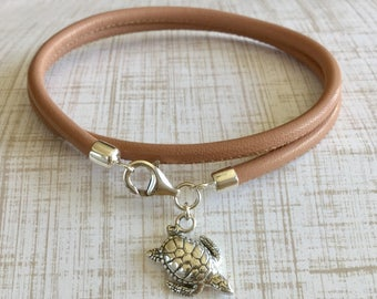 Double Wrap Leather Bracelet Sterling Silver Multi Wrap Turtle Charm Bracelet Free Shipping Nappa Leather