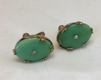 Vintage Jade Earrings Sterling Craft by Coro Jade with Clear Rhinestone Screw Back Vintage Earrings