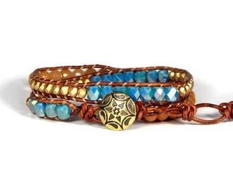 Leather Wrap Bracelet Blue Orange Bracelet Two Row Boho Bracelet Bohemian Jewelry