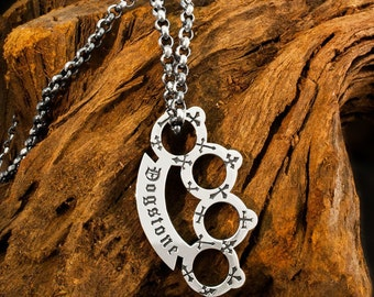 Handmade 925 Sterling Silver Cemetery Park Brass Knuckles / Knuckle Duster on a Heavy Belcher Chain Necklace