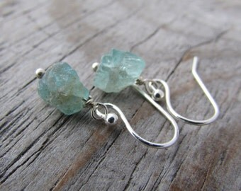Raw Kyanite Earrings, blue green kyanite, unpolished gemstone dangle earrings