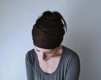 DARK BROWN Head Scarf - Yoga Headband - Workout Hair Accessories - Dark Chocolate Brown - Bohemian Hair Wrap - Boho Hair Accessories