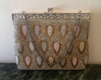 Art Deco Multi Sequins Evening Handbag in Silver Pink Creme and Opal