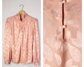 Vintage 1980's Dusty Rose Pink Leaf Print Silky High Neck Secretary Blouse L