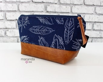 AVA Small Clutch -Navy Feathers
