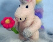 Serena Unicorn Rainbow Needle Felted Figurine