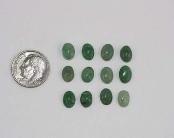 Green Aventurine Cabochons - 6 x 8 mm - Pack of 12
