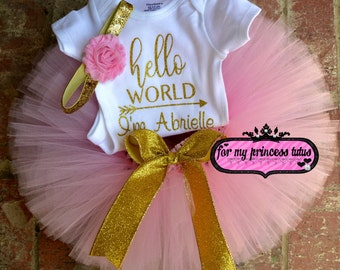 Newborn Girl Outfit, Pink and Gold newborn outfit, hello world onesie,  newborn take home outfit, baby shower gift, tutu set, newborn