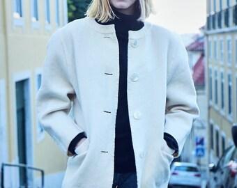 Vintage 90s Wool Cream Coat