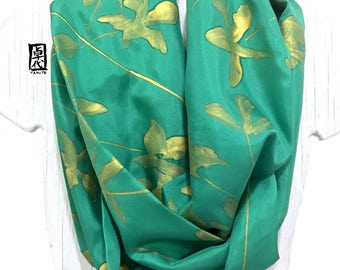 Pattern Circle Scarf, Scarf Gift for Wife, Circle Green Scarf, Handpainted Scarf, Japanese Day Lily, Takuyo, 8x72 inches Loop