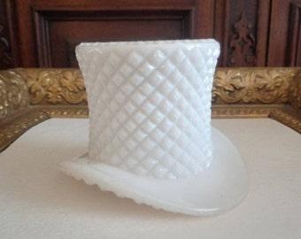 Vintage Westmoreland English Hobnail (#555) Milk Glass Topper or Top Hat