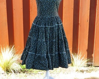 Vintage Womens Swing Dress Size 8 to 10 Black with Blue and Yellow Flowers Full Skirt Sundress - Rockabilly Party Square Dance Costume