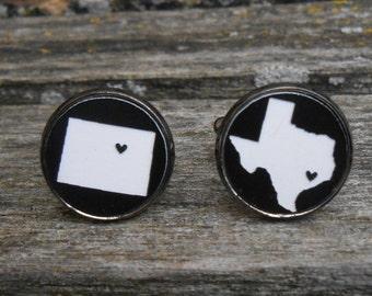 His & Hers State Cufflinks. Black, White Acrylic. Wedding, Men's, Groomsmen Gift, Dad. Custom Orders Welcome. Colorado, Texas