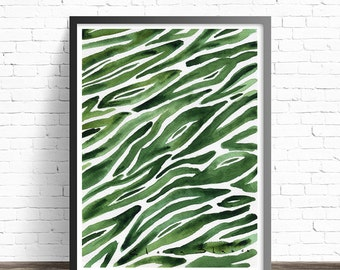 Green Print. Abstract print. Green decor. Nature art prints. Green Watercolor. Modern art print. Green wall art. Modern wall art