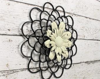 Metal Flower Decor - Wall Decor - Metal Wall Art - Metal Wall Decor - Farmhouse Decor - Fixer Upper Style - Farmhouse Style Chic