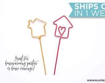 Cupcake Toppers / House Cupcake Toppers / Housewarming Party Decor / House Viewing / Real Estate Decor / Set of 10 / 14 Wire Colors