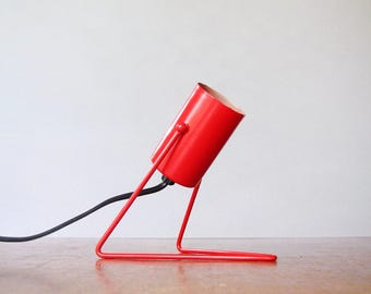 Vintage Mod Adjustable Red Accent / Table / Desk Lamp