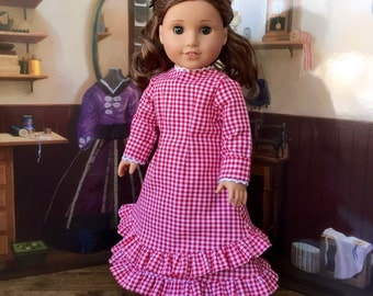 1880s Mary and Laura Prairie Dress in Red Gingham for 18 inch doll like American Girl