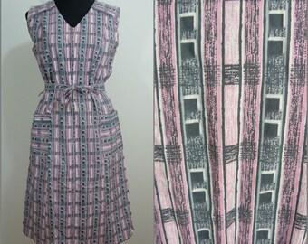 Kooky Retro VINTAGE 1970s Pink Grey Geometric Squares Overall Pinafore Dress 14 42 / Mod /