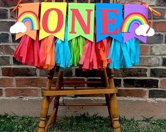 ONE High Chair Garland: ONE High Chair Banner, Rainbow Birthday, 1st Birthday Boy, 1st Birthday Girl, Smash Cake Banner, Noah's Ark Party
