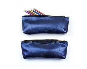 Makeup Brush Bag. Metallic Leather Pencil Case. Leather Brush Bag. Artist Pencil Case.