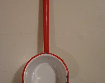 Bucket shaped dipper / deep ladle / vintage white enamel w blue trim