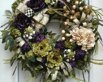 Elegant Fall Autumn Wreath Large Winter All Year Front Door Fireplace Decoration Purple Green Cream Pheasant Feathers Thanksgiving Grapevine