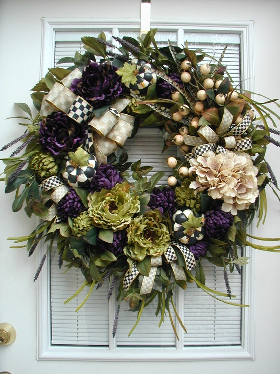 large winter wreath elegant fall autumn all year front door. Black Bedroom Furniture Sets. Home Design Ideas